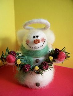 Wool Snowman Angel Ornament by WhimsicalWoolies on Etsy, $21.00