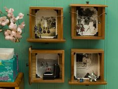 DIY home decor - shelves made from drawers! Nice two DIY tutorials and 32 ideas for how to decorate your home with old drawers from old furniture, which you hight wanted to get rid of