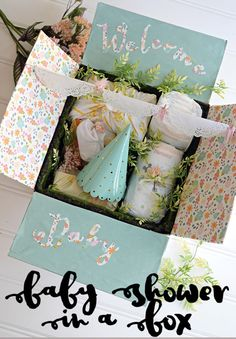 Baby Shower In a Box – how to make an adorable baby shower all in a box to send off to family or friends that are too far away to attend the shower! #HuggiesNewYear #ad @Huggies