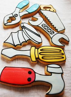 Tools of the Trade 1 Dozen por LindasEdibleArt en Etsy Man Cookies, Cut Out Cookies, Cute Cookies, No Bake Cookies, Cupcake Cookies, Iced Sugar Cookies, Royal Icing Cookies, Mini Tortillas, Fathers Day Cake