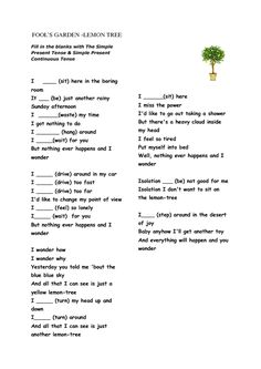 Song Worksheet: Lemon Tree (Present Simple & Continuous)