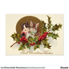 Shop Cat Kitten Holly Winterberry Holiday Postcard created by kinhinputainwelte. Vintage Invitations, Invitation Paper, Vintage Greeting Cards, Vintage Christmas Cards, Best Christmas Wishes, Cat Cards, Holiday Postcards, Cats And Kittens, Christmas Print