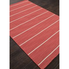 Flat Weave Stripe Pattern Red/ Ivory Wool Area Rug (5'x8')