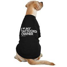 "Dog ""I Heart My Tattooed Owner"" Tee by Dpcted Apparel (Black) - www.inkedshop.com#inked #Inkedmag #inkedgirls #inkedguys #inkedpets #iheartMYtattooedowner #petapparel"