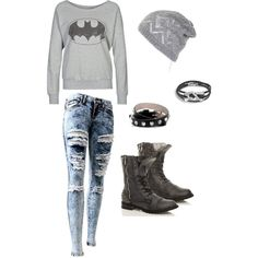 Grey Batman Shirt, Ripped Grey Skinny Jeans, Black Boots, Black Spiked Bracelet, Grey Beanie