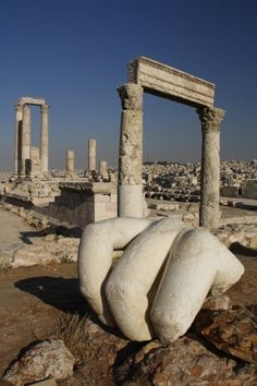 The Roman Temple of Hércules -- Citadel Hill, which sits in the middle of downtown #Amman, #Jordan. Come visit and stay with www.gweet.com