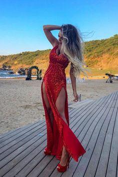 Sexy Red Sequins Backless Split-Front V-Neck Long Prom Dress Sequin Prom Dresses, Cheap Prom Dresses, Evening Dresses, Formal Dresses, Sequin Maxi, Formal Prom, Dresses Dresses, Long Dresses, Party Dresses