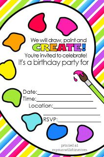 MySunWillShine: FREE Artist Party Printables