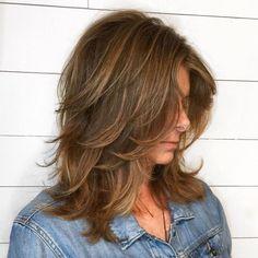 60 Most Universal Modern Shag Haircut Solutions Medium Shag With Peek-A-Boo Bangs Medium Layered Haircuts, Medium Hair Cuts, Medium Hair Styles, Curly Hair Styles, Haircut Medium, Double Chin Hairstyles, Long Face Hairstyles, Wedding Hairstyles, Celebrity Hairstyles