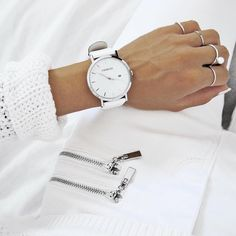 """""""All white! 〰 Beautiful @c.phraph wearing our white & silver model // Shop: www.charlizewatches.com // #charlizewatches"""""""