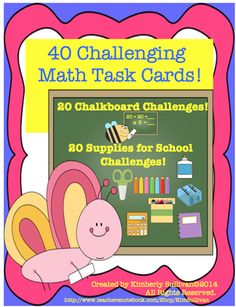 Back to School Math Task Cards! Early Finishers! Centers! Grades 4-6 Challenging and Fun! from Kimberly Sullivan on TeachersNotebook.com -  - These math task cards are both challenging and fun! Addition, subtraction, multiplication, and division!