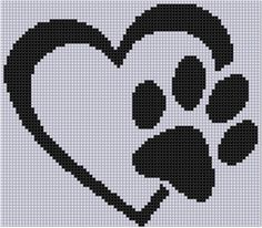 Paw Heart Cross Stitch Pattern  Size on 14 count roughly 6 X 5  Includes Cross Stitch Tips
