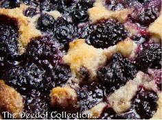 Granny's Blackberry Cobbler 1 stick cup) plus 1 Tbsp. butter, divided 4 cups fresh blackberries or frozen then thawed to room temperature 1 ¼ cup sugar, divided 1 cup all-purpose flour 2 tsps. Blackberry Recipes, Fruit Recipes, Sweet Recipes, Cooking Recipes, Pie Recipes, Blackberry Pie, Blackberry Cobbler Bisquick, Black Raspberry Cobbler, Southern Blackberry Cobbler