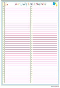 A printable list for all the house ideas I've pinned so I'll actually do them!