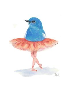 Title: Ballet Birdie No.36 - 8x10 ORIGINAL Watercolor. Starting at $1 on Tophatter.com!