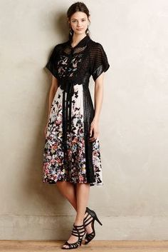 Gorgeous! Love the print and texture contrasts. | Byron Lars Monarch Midi Dress #anthroregistry