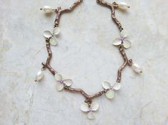 Orchid Flower Necklace Hand Painted w/ White Freshwater Pearls