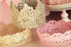 Homemade princess crowns... perfect for Emmy's first birthday party!