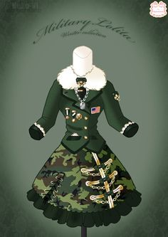 Military Lolita Winter Dress by Neko-Vi on DeviantArt Fashion Mode, Lolita Fashion, Anime Outfits, Cool Outfits, Manga Clothes, Design Textile, Anime Dress, Fashion Design Drawings, Character Outfits
