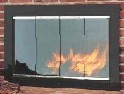Custom Slimline Flat Black with Satin Nickel Door Trim Finish Masonry Doors (Overlap Fit/Outside Mount) Clear Glass & Mesh Curtain Included - NOT FOR USE ON ANY FACTORY-BUILT/ STEEL FIREBOX - DOOR CUSTOM MADE AT TIME OF ORDER!