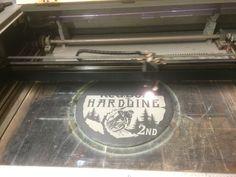Laser engraving one of the Redbull hardline mounting bike trophies for 2015