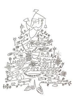 """""""Santa Claus as Christmas Tree"""" by Saul Steinberg, 1949 or later, offset printing, published by The Museum of Modern Art"""