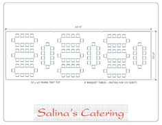 Here is a typical layout for a 20X60 tent. With this layout, you will ideally be able to seat 120 guests at twelve of our 8 foot long banquet tables.