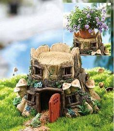 Frog Toad House Cottage Mushroom Garden Statue Yard Decor Plant Pot Holder   eBay