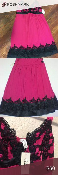 Soma Azalea & black lace chemise Soma embraceable cool nights chemise. BNWT. Size X-Small Soma Intimates & Sleepwear Chemises & Slips