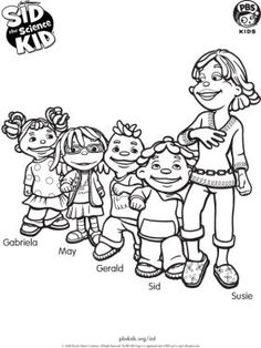 sid and friends sid the science kid coloring pages for kids sprout - Pbs Kids Coloring