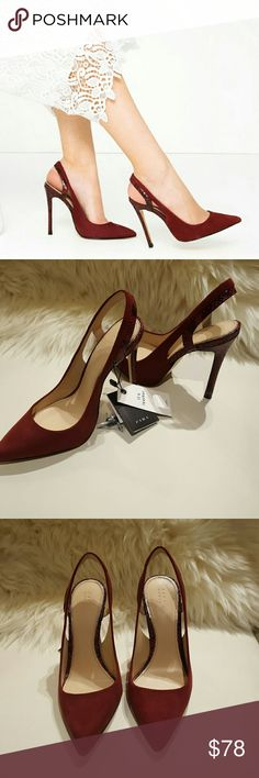 Zara Leather Slingback Heels NWT Burgundy high heel leather slingback shoes opening detail on the sides heel with animal effect contrasting finish heel height of 4.3inches. NEW WITH TAG Zara Shoes Heels