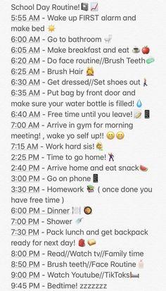 #FavouriteDietAndNutrition School Routine For Teens, Morning Routine School, School Routines, Life Hacks For School, Morning Routine Chart, Morning Routine Checklist, Night Time Routine, Daily Routine Schedule, Beauty Routine Checklist