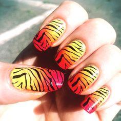 Gradient Zebra nails