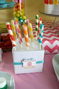 Modern Rainbow Party ( maybe use Cracker Barrel candy sticks?)