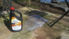 Tip! Drano takes off any kind of concrete stain! Just pour it on and literally in like 2 minutes it's bright white again! Whether it's that gross green mold, oil, that weathered black look..takes it all out.