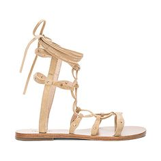 RAYE Sage Sandal (3,195 MXN) ❤ liked on Polyvore featuring shoes, sandals, laced up flat sandals, lace up flat sandals, wrap shoes, studded sandals and gladiator shoes