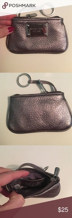 Michael Kors change purse Small silver leather change purse with a keychain and zipper Michael Kors Bags Clutches & Wristlets