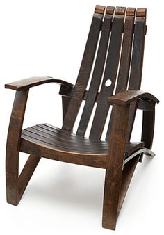 Adirondack-style chair made from UPCYCLED WINE BARRELS! Love!