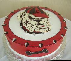 Georgia Bulldog logo cake
