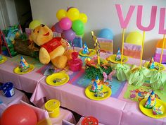 "Winnie the Pooh Theme Centerpieces | Winnie the Pooh"" 1st Birthday 