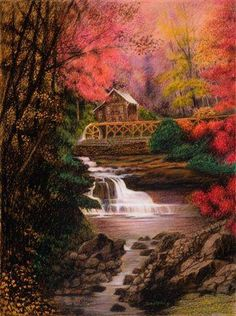 Fine Art by Don Marco - The Master Crayon Artist Gallery Website, Crayon Art, Cabins And Cottages, Fairy Land, Wonders Of The World, Amazing Art, Waterfall, The Incredibles, Fine Art