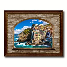 Fisherman-Village Riomaggiore Picture 3D Arch Window Canvas Print Home Décor Wall Frames #prints #printable #painting #canvas #empireprints #teepeat