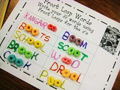 Froot Loops OO word Work--can be used in or grade when the phonics skills is oo sound! Teaching Phonics, Teaching Language Arts, Kindergarten Literacy, Teaching Reading, Classroom Activities, Literacy Centers, Teaching Ideas, Phonics Lessons, Literacy Stations