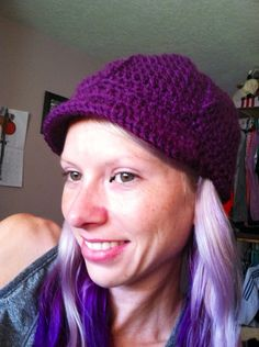 Purple Newsboy hat on Etsy, $30.00