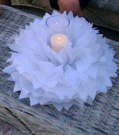 Pompón + votiva + vela = centro de mesa fabuloso. #DecoracionPompones