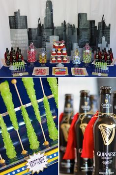 Gotham Superhero Dessert Table: love the fabric/felt capes tied onto the (beer for adults) bottles...who says grown ups can't have superhero parties?!  :):