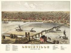 Louisville Kentucky in 1876 with landmark description https://www.etsy.com/listing/68504304/vintage-map-louisville-kentucky-1876? #Louisville #Kentucky