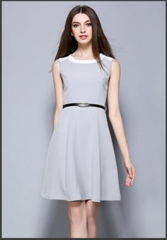 HQs korean style fashion women Stitching slim sleeveless vest casual mini dress | eBay
