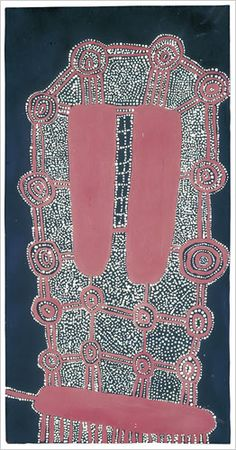 """Accustomed to painting their bodies and ceremonial objects and making temporary sand mosaics, the men took to the new materials brilliantly. Improbably, a new movement was born, and within a few years paintings made by Aboriginal artists from across Australia had become an international phenomenon.  """"Medicine Story,"""" 1971, by Uta Uta Tjangala  Photo: Grey Art Gallery"""
