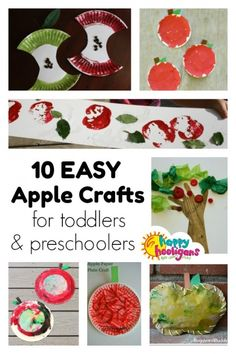 10 PRESCHOOL APPLE CRAFTS for Fall! Toddlers and Preschoolers will love these fun and easy apple crafts. Perfect for an apple unit for year olds at home, daycare or preschool - Happy Hooligans Fall Crafts For Toddlers, Crafts For 2 Year Olds, Summer Crafts For Kids, Apple Crafts For Preschoolers, Easy Toddler Crafts 2 Year Olds, Preschool Apple Theme, Apple Activities, Children Activities, Preschool Activities